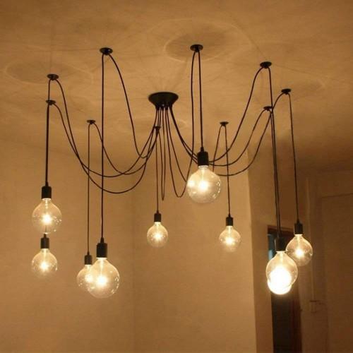 DIY Kreative Decken Spinne Lampen Kronleuchter höhenverstellbar E27-10Heads