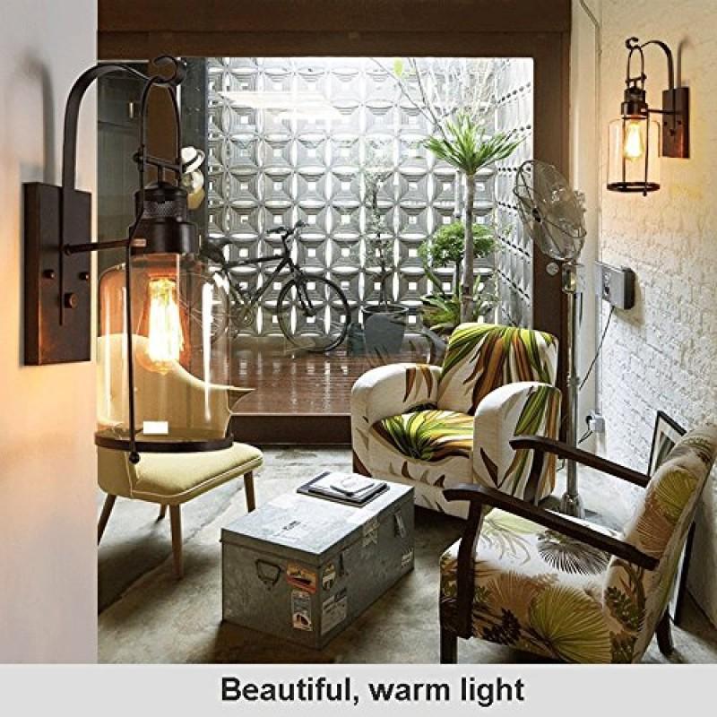 Vintage Wandleuchte, kreative Glas Wandlampe für Loft Wohnzimmer ...