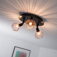 Retro Deckenleuchte LED-Deckenstrahler Design mit Kupfer Gitter Abdeckung