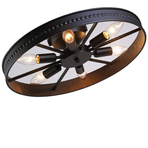 Retro Wheel Deckenleuchte - Runde Deckenleuchte - Dekorativer Deckenstrahler - Lampenschirm aus Eisen