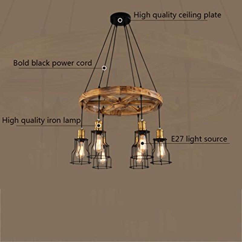 Modeen Kronleuchter Eisen Lampenschirm Runde Holz Anhänger Deckenleuchte