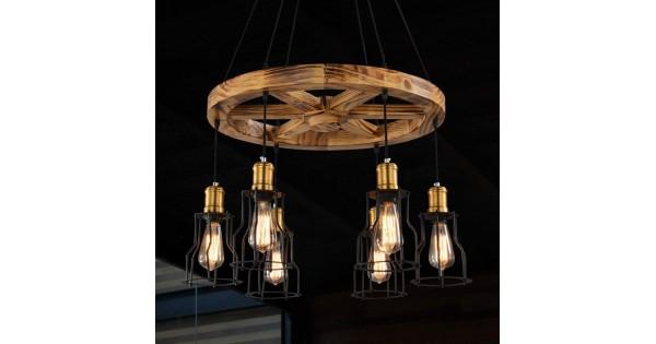Kronleuchter Antik Holz ~ Modeen kronleuchter eisen lampenschirm runde holz anhänger