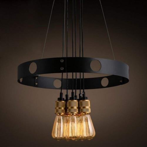 Retro Pendelleuchten - Runde Hängelampen - Antike Industrie Ring Design - Kreative dekorative Pendelleuchte - Lampenschirm aus Eisen