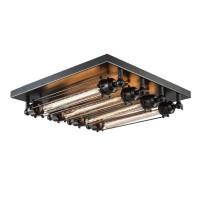 Retro Loft Metall-Röhren Wohnzimmer-Deckenleuchte Industrie-Stil Leuchte Square Eisen 4 Flammige Bar