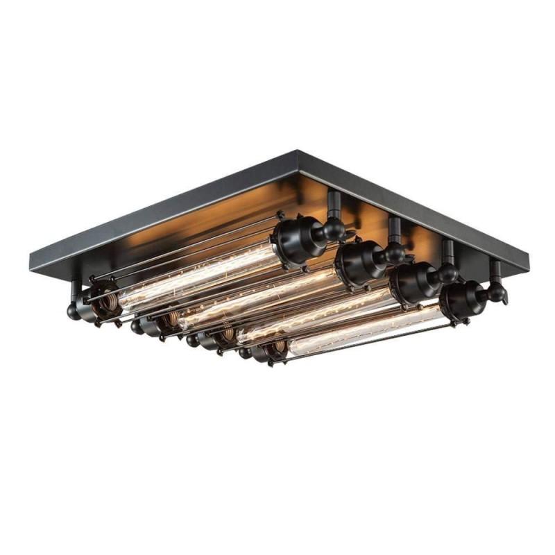 retro loft metall rohren wohnzimmer deckenleuchte industrie stil leuchte square eisen 4 flammige bar