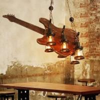 Modern Deckenlampe Holz Pendelleuchte Retro Industrial Style Kronleuchter Gitarre Holz Lampen