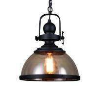 Retro Pendelleuchte Glassschirm Rund Design Vintage Küche Lampe Eisen Hängeleuchte