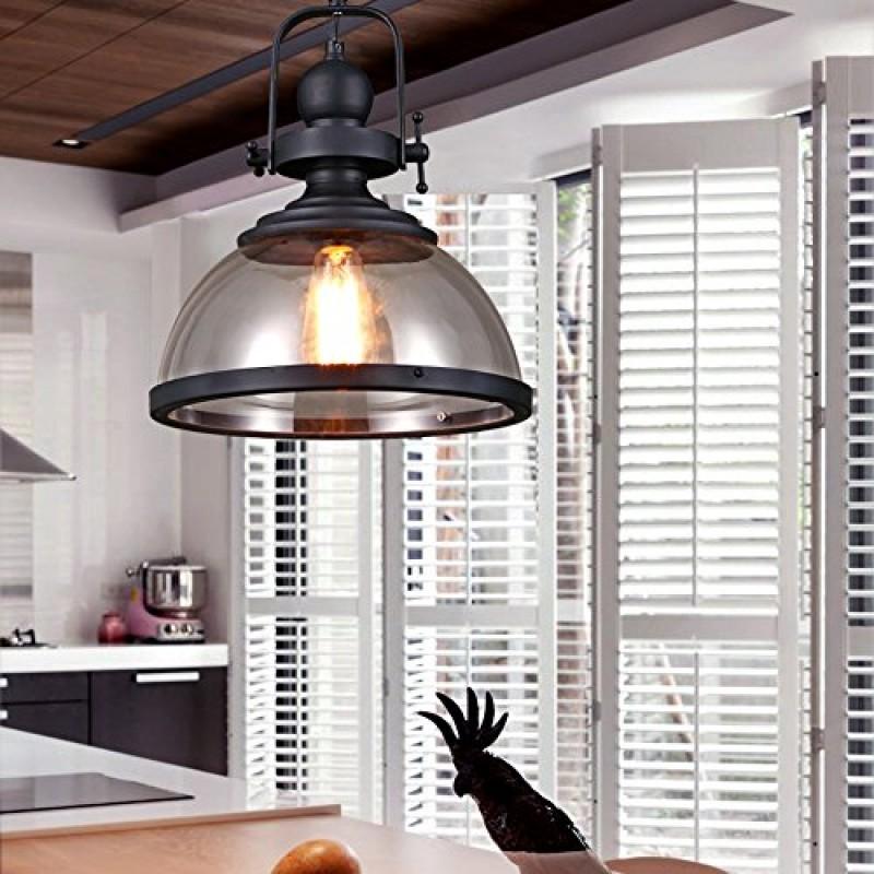 Retro Pendelleuchte Glassschirm Rund Design Vintage Küche Lampe ...
