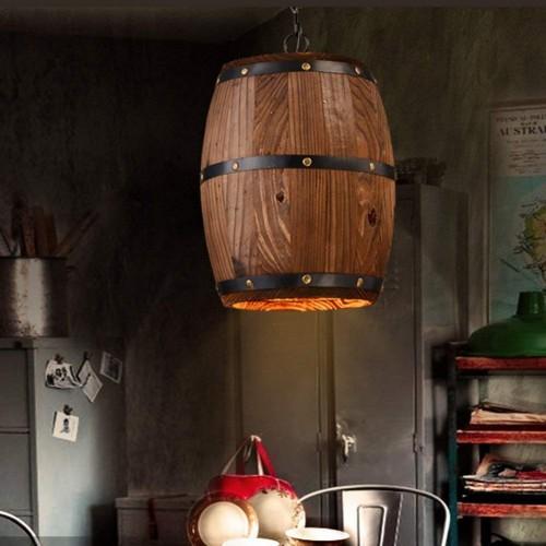 Holzfass Pendelleuchte - Retro Loft Kronleuchter - Creative Village Deckenleuchte