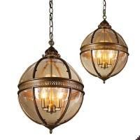 Runder Glas-Kronleuchter für Schlafzimmer & Esszimmer - Pendelleuchten - 3-Licht Vintage Kronleuchter