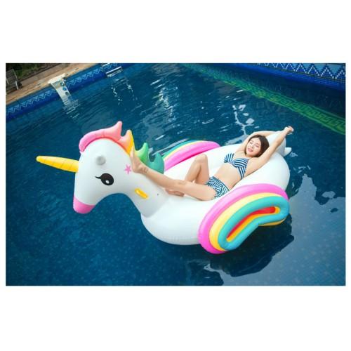Regenbogen Einhorn Aufblasbarer Pool Floß Schwebebett Wasserspielzeug