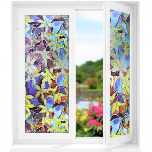 3D Farbig Statisch Fensterfolie Dekoration Fensteraufkleber Blumen