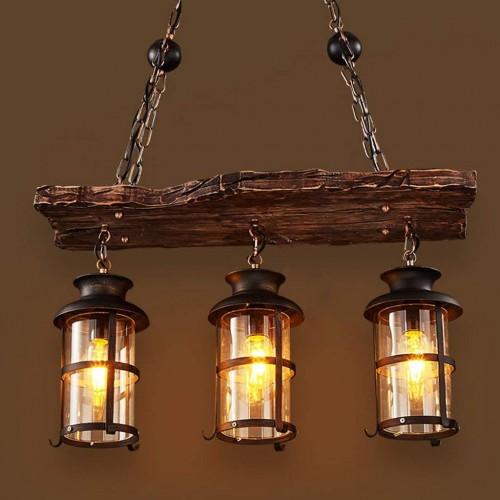 Industrieller Leuchter der Weinlese - kreative hölzerne Lampen