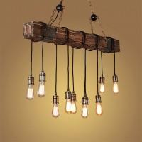 Pendelleuchte - Retro Industrie Vintage Kronleuchter - Holz & Metall Materialien - Höhenverstellbar - E27 * 10 Hängeleuchte 118CM