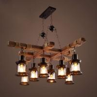 8 Kopf Vintage Industrial Style Holz Kronleuchter - Höhere Qualität - Personalisiertes Design