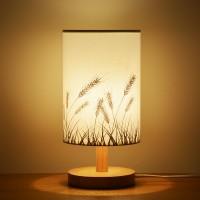 Nachttischlampe, minimalistische Massivholz Tischlampe Nachttischlampe, runde einfache Schreibtischlampe, Nachttischlampe mit Stoffschirm