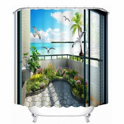 Duschvorhang-Ozean-Szene des Badezimmer-3D im Balkon