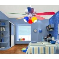 Colorful Cartoon Kinderzimmer Deckenventilator mit 5 Holzklingen und Zugseil - 42 Zoll