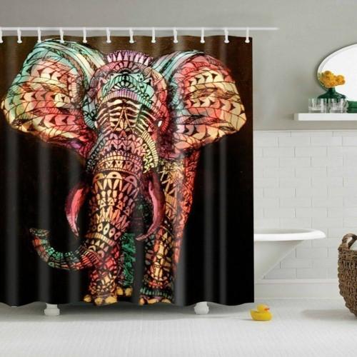 3D Wasserdicht Elefant Duschvorhang Print Badezimmer Dekor Polyester