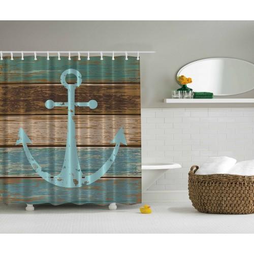Seeanker-rustikales Holz - Stoff-wasserdichter Duschvorhang, den mehrere Größen wählen können