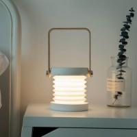 Tragbare Tischlampe LED Nachtlicht Laterne Nachttischlampe mit Holz-Handgriff, 3 Helligkeitsstufen, Touch-Bedienung, klappbare Tischleuchte Leselampe für Schlafzimmer Wohnzimmer Camping