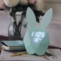 Cute Rabbit Cartoon LED Wecker Kreativität Kind Timing Sprachsteuerung Musik Lade Leucht Elektronische Wecker