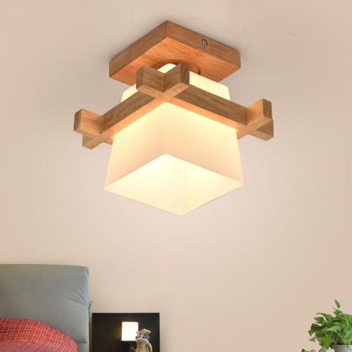 E27 Moderne Deckenleuchte Holz Glas Minimalistische Deckenlampen Kreative Deckenbeleuchtung Einfach Deckenstrahler für Wohnzimmer Esszimmer Schlafzimmer Korridor (A)