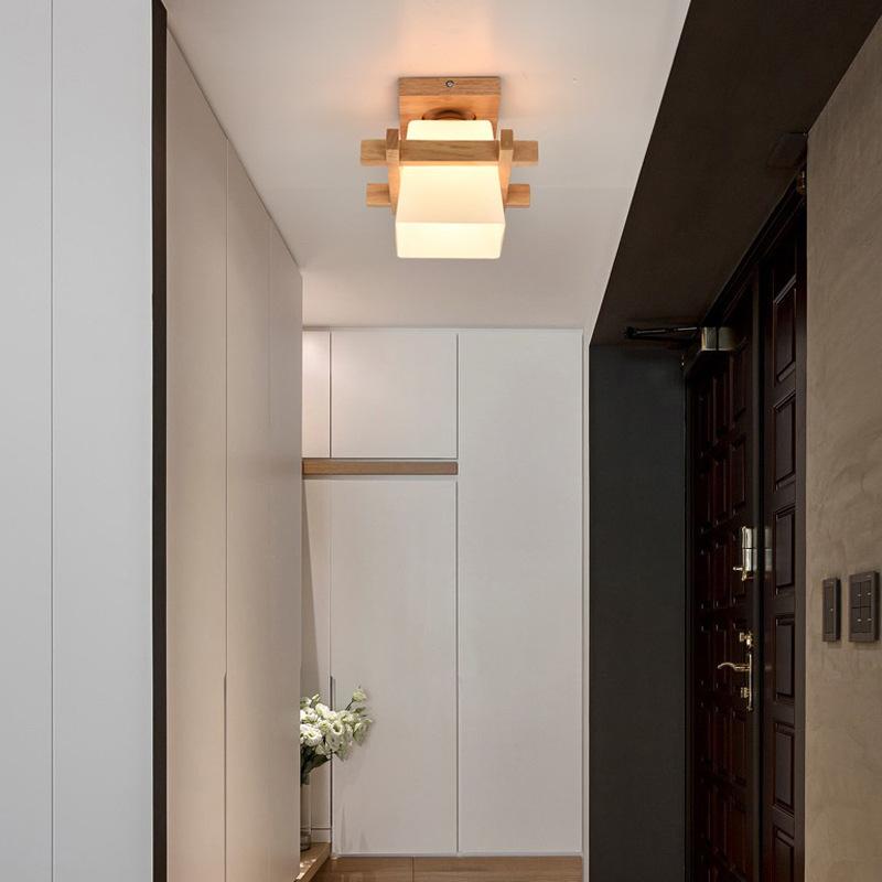 E27 Moderne Deckenleuchte Holz Glas Minimalistische ...
