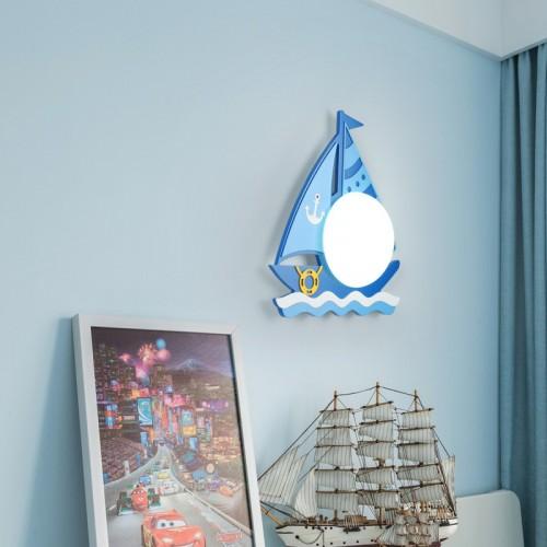 Kinder Wandleuchte LED Nachtlampe Kreative Segelboot Wandlampe Mit Schalter Rund Milchglas Lampenschirm  für Schlafzimmer Wohnzimmer Flur Treppen (Lichtquelle enthalten)
