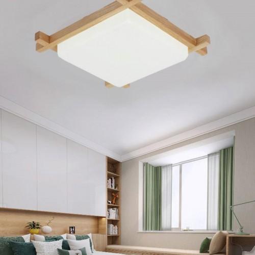 Japanische Deckenleuchte, Deckenlampen LED Lampen Massivholz Tatami Licht Lampen japanische Wohnzimmer Licht Protokolle Deckenlampen (Color : Stufenloses Dimmen, Größe : 40* 8cm)