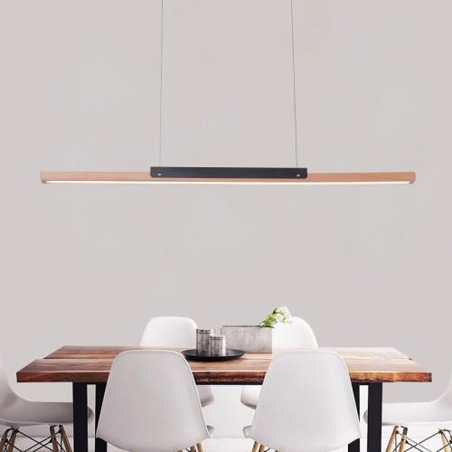 LED Hängeleuchte esstisch Pendelleuchte aus Holz dimmbar 35W mit den Fernbedienung pendellampe höhenverstellbar Hängelampe esszimmer, Arbeitszimmer, Wohnzimmer, Küche