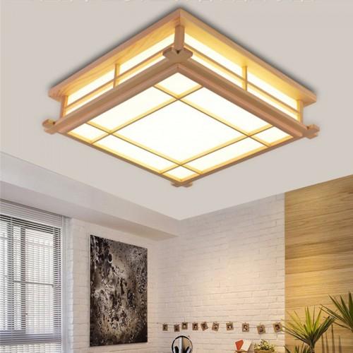 Japanische Deckenleuchte LED Lampen Massivholz tatami Licht Lampen japanische Wohnzimmer Licht (350mm*350mm*120mm) Schlafzimmer Balkon Protokolle