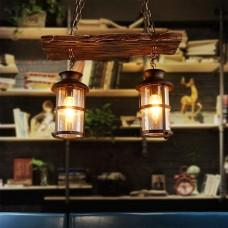 Retro Hängeleuchte aus Holz Industrielle Vintage Pendelleuchte Innenbeleuchtung Loft Kronleuchter Eisen und Glas Lampenschirm Höhenverstellbar Design Pendellampe für Esszimmer Bar Wohnzimmer leuchte