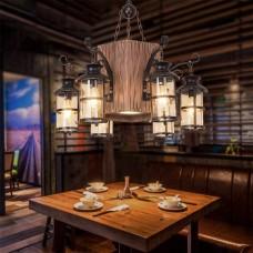 Kreativ Retro Pendelleuchte Industrielle Loft Persönlichkeit Vintage Antik Schlafzimmer Esszimmer Bar Hängeleuchte 6 Lichter Wohnzimmer Küche Café Metall Glas Holz Hängelamp Dekorativer Beleuchtung
