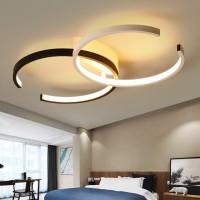 LED Deckenleuchte I  Deckenlampe 55cm 37W dimmbar mit Fernbedienung Wohnzimmerlampe Eisen Kronleuchte Kinderzimmer Lampe Esszimmerlampe Schlafzimmerlampe Badezimmerlampe Flurlampe (A-s&w-Φ55cm) [Energieklasse A  ]