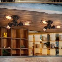 Vintage Deckenleuchten verstellbare Sockel industrielle Kronleuchter Metall Draht Käfig Lampe halbbündig montieren rustikale Deckenleuchte Indoor Home Retro-Leuchte