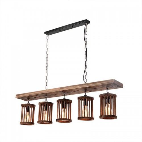 Hängeleuchte Holz Pendelleuchte Vintage Industrial Kronleuchter Höhenverstellbar E27*5 Retro Hängelampe