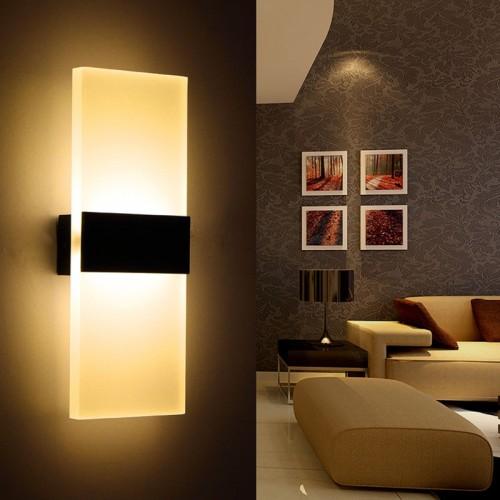 2er Pack 12W Wandlampe LED Wandleuchten für Schlafzimmer,Wohnzimmer, Treppenhaus und Lounges / 29 CM/led Flurlampe in Acryl/CE Zertifizierung/aluminium