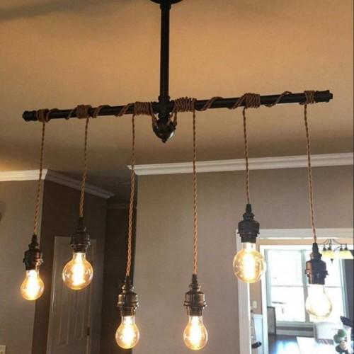 Vintage Industrieller Wind Pendelleuchte DIY Verstellbare Höhe Hängelampe Vintage Pendelleuchte Townshend aus Stahl und Holz inkl. E27 Industrial Hängelampe