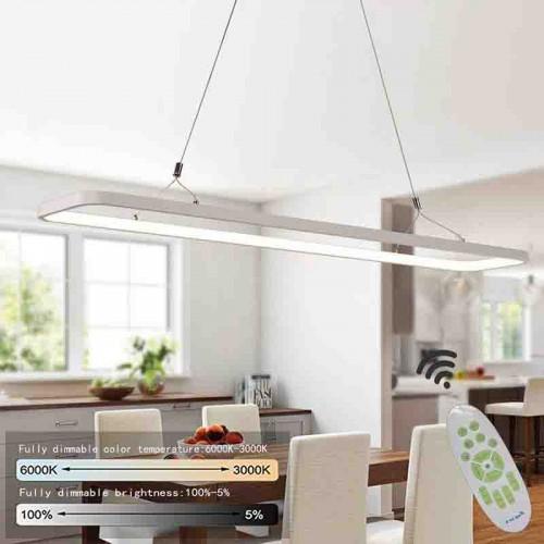 LED Pendelleuchte büro Hängelampe Hängeleuchte Dimmbar büro pendelleuchte höhenverstellbar aus PVC Pendellampe, 48 W,120x 26x 20CM