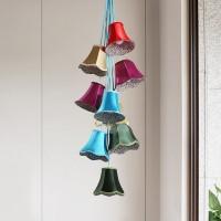 Design Hängeleuchte Saloon Flowers, moderne Pendelleuchte im Retro-Stil, Design Wohnzimmerlampe mit bunten Lampenschirmen und Blumenmuster, Landhausstil