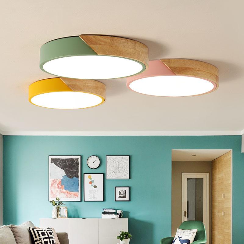 36W LED Deckenleuchte Ultra-dünne 6cm - Holz Bunte Runde ...