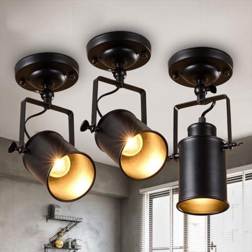 Deckenstrahler LED Retro Vintage Strahler Deckenspot Innen Lampen Schwenkbar Industrie Wand Spot Schwarz Einstellbare Leuchte Beleuchtung