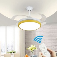 LED Unsichtbare Lüfter einfache Deckenventilator mit Lampe, Macaron Deckenventilator Licht für Kinder Fan Lichter, Dreifarbiges Dimmen + Fernbedienung 107㎝*48㎝
