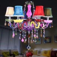 6-flammiger bunter Vintage Kronleuchter - moderner Kronleuchter Deckenleuchte Pendelleuchte Kristall mit Lampenschirm