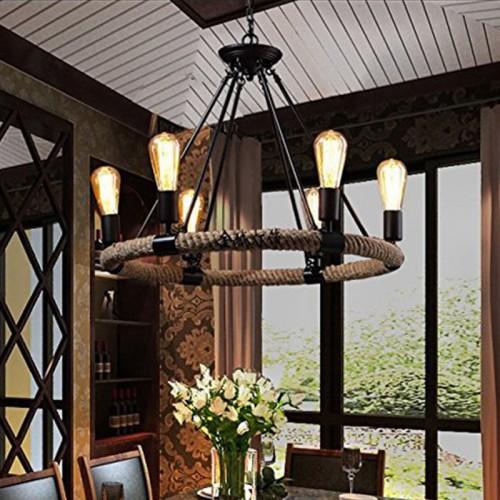 Loft Vintage-Seil Deckenleuchte Antik Retro Pendelleuchte 6 Flammige 25 Inch Breite Disign Lampe Hängeleuchte [Energieklasse A++]