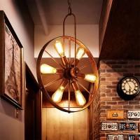 Retro Rad Deckenleuchte - Vintage Runde 6-Flammen-Deckenleuchte