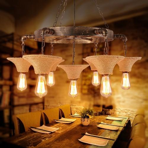 Pendelleuchte Holz Vintage Höhenverstellbar Kronleuchter Industrial Hängelampe Retro Hängeleuchte Drehbar Retro Metall für E27 Leuchtmittel