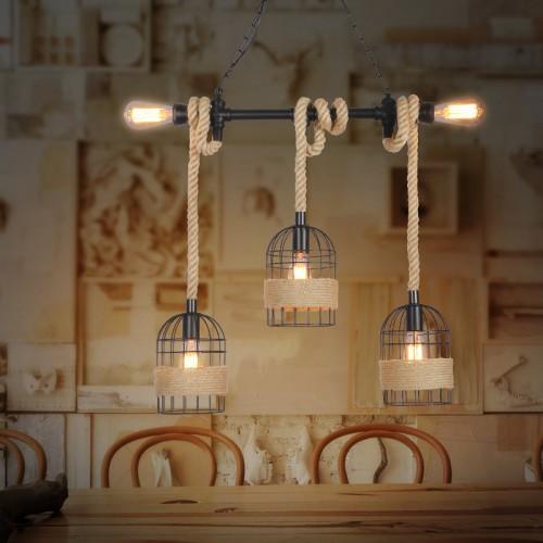 Vintage Seil Industrielampe Kronleuchter Deckenleuchten LED Glühlampe Lampenfassung E27*5 Hängeleuchte