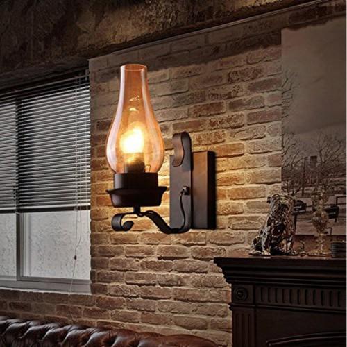 Retro Vintage Schwarz Ein Licht Metall wandleuchte mit Glas Schornstein Schatten E27 (Ohne Glühbirne) [Energieklasse A+]